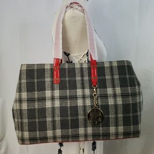 🆕️IMAN Fall & Winter Shoppers Tote Handbag Plaid